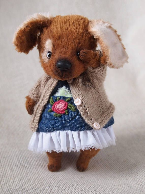 Artist tedy bear Teddy the dog OOAK teddy dogtoy dog gift