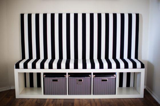 Voor in de gang - Striped DIY Banquette-Ikea Hack