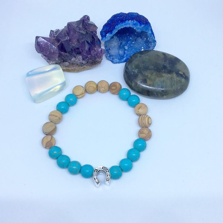 A personal favorite from my Etsy shop https://www.etsy.com/ca/listing/571724252/matte-wood-jasper-and-turquoise-bracelet