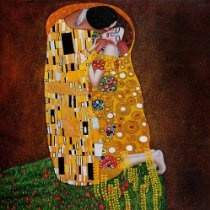 """Art Reproduction Oil Painting - Klimt Paintings: The Kiss (Full View) - Oversized 71"""" X 71"""" - Hand Painted Canvas Art"""