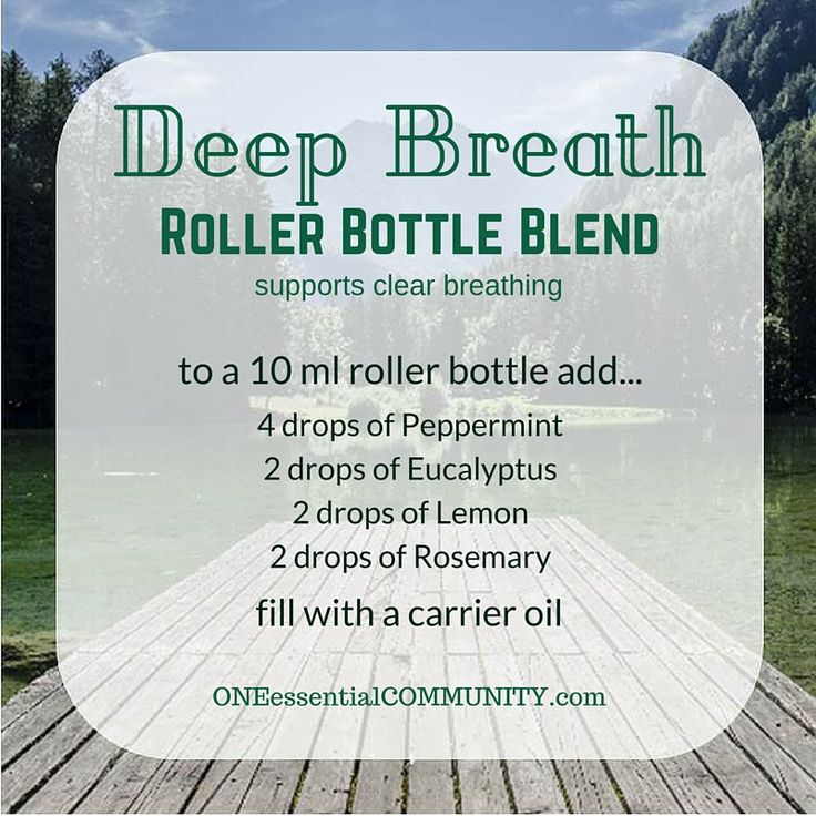 Deep Breath roller bottle blend--  It's great for purifying the air and helping to protect against seasonal threats. Peppermint has a high percentage of menthol which helps with clear breathing.  Lemon has a fresh, clean scent that purifies the air and minimizes seasonal threats.  Eucalyptus is invigorating as well as promoting healthy respiratory functions.  And rosemary's warm herbal aroma helps with fatigue.  click image for 20 favorite roller bottle recipes and FREE PRINTABLE labels