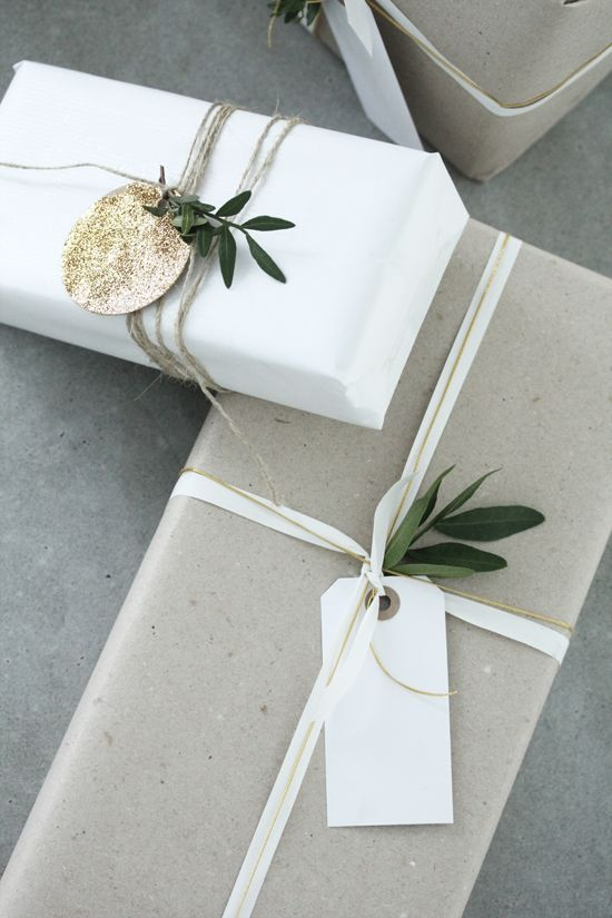 Minimal Christmas gift wrapping Beautiful simple grey and white gift wrapping