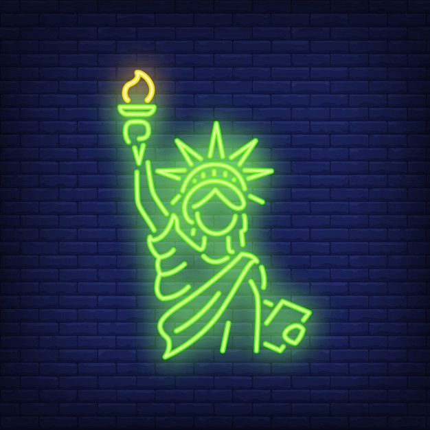 Download Statue Of Liberty On Brick Background Neon Style