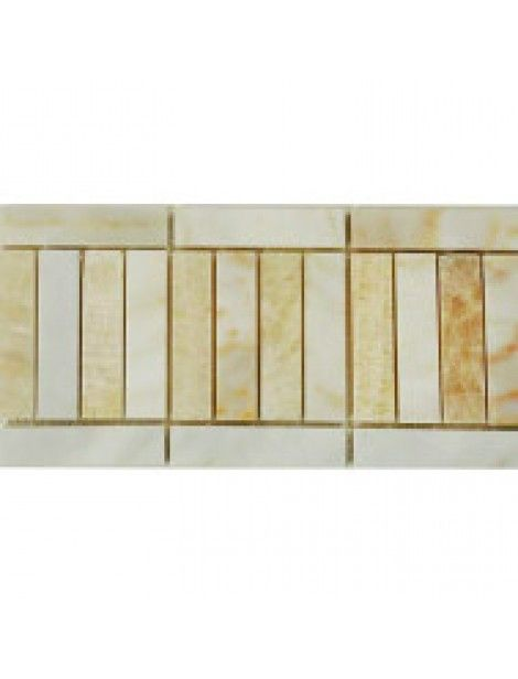 4 in.x 12 in. Afyon Sugar with Honey Onyx Border Tile for Floor & Wall afyon sugar marble, honey onyx tile