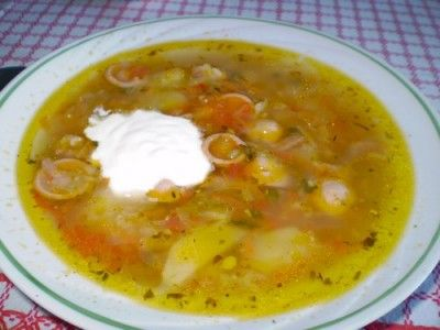 Schi with raw cabbage and tomatoes (Russian soup)