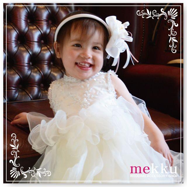 【子供用ヘアアクセサリー】フラワーカチューシャ[kd008]/ウェディングアクセサリー~mekku~【メック】
