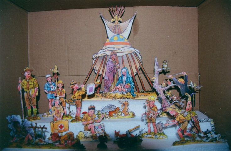 Another Scout Nativity, this one on display at the Paper Nativity Museum, in Zábrdí u Husince, Czech Republic. They say they have over 300 paper nativities! The website is worth a visit, in English, with a generous free download. http://www.papirove-betlemy.cz/en/