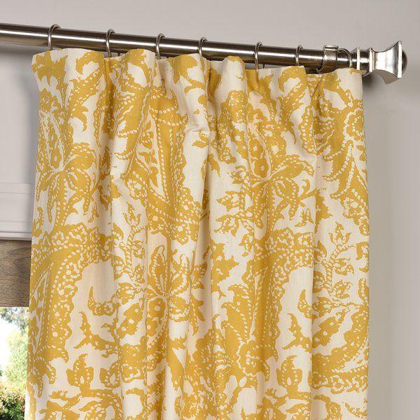 Samantha Paisley Semi-Opaque Single Rod Pocket Curtain Panel