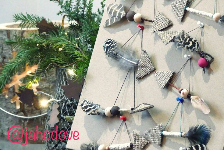 Natural christmas decoration - ornaments with feather
