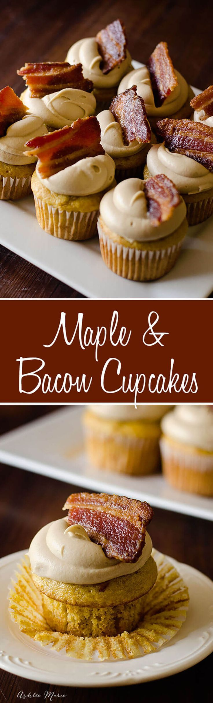 Maple & Bacon Cupcakes recipe. It doesn't get much better than candied bacon and maple. These cupcakes are easy to make and are. a copycat recipe from Epcot Disneyworld! #bacon #disney