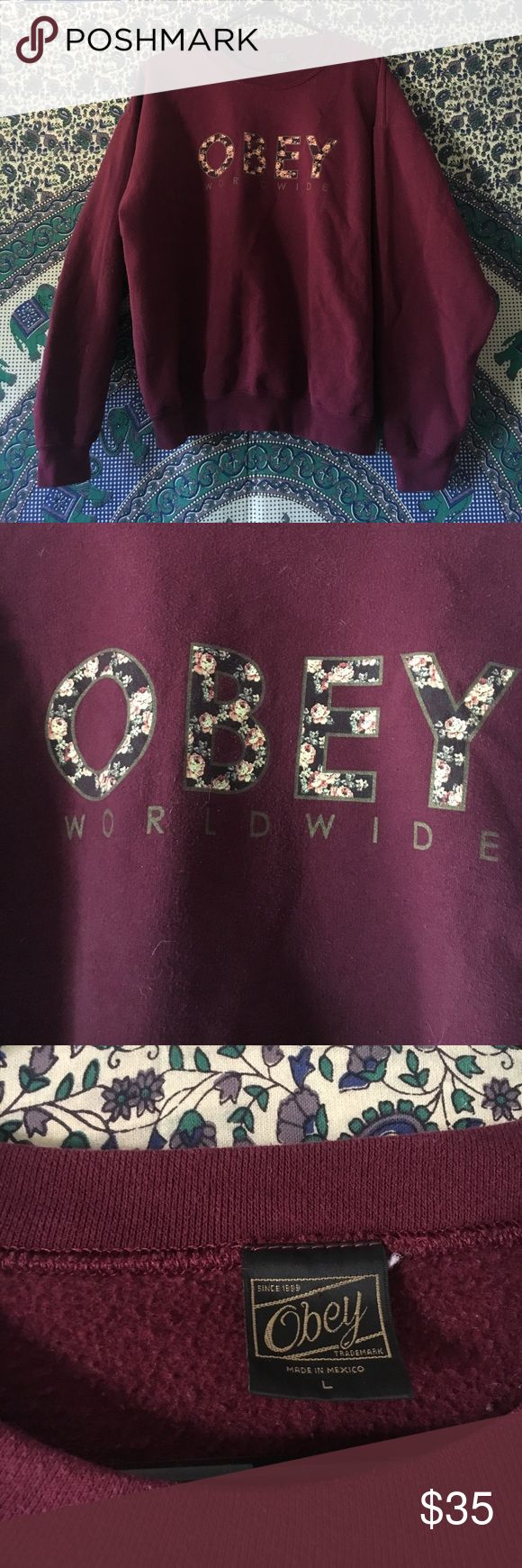 OBEY worldwide crewneck burgundy colored crewneck, perfect for upcoming fall weather & trends! floral print obey logo, slightly worn but still good as new😊 Obey Tops Sweatshirts & Hoodies
