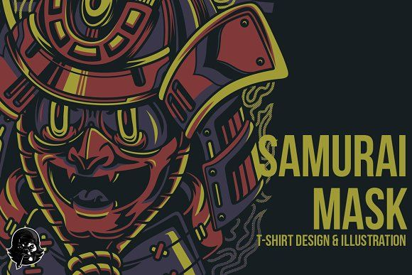 Samurai Mask Illustration by badsyxn on @creativemarket. . . ready to download, grab it fast. . . #vector, #editable, #tees, #clothingline, #unique, #awesome, #online, #shop, #brand, #freelance, #custom, #apparel, #product, #bussiness, #community, #poster art, #merch, #show, #events #artwork #japanese #culture #mask #samurai #warrior #cartoons #mascot