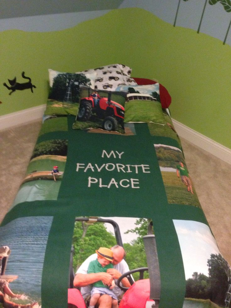 Blanket and pillows (Shutterfly) made from fun farm memories for boys farm themed bedroom. Tractor sheets from Pottery Barn kids.