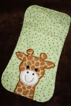 Giraffe Burp pad Embroidery Machine Design for the 7x12, 8x12 and 8x14 hoop size