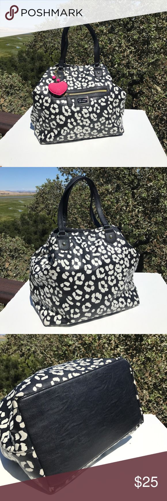 "Betsey Johnson Black White Leopard Tote 18"" long, 13"" tall, 8"" wide.  Tiny wear to bottom corners.  Light interior use. Betsey Johnson Bags Totes"