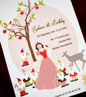 Printable Snow White and The Seven Dwarfs Birthday Party Invitations