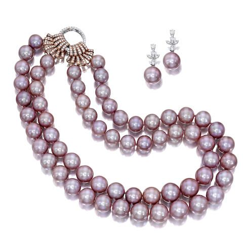 A South Sea natural pink cultured pearl and diamond necklace and earring suite