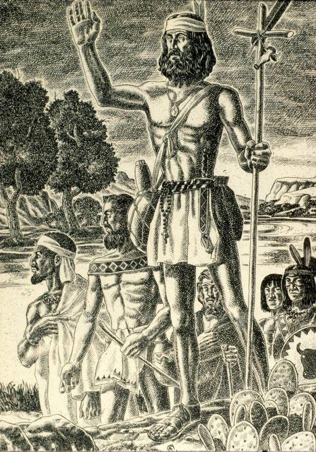 Cabeza de Vaca and his companions passing through the Big Bend country of Texas