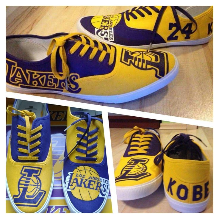 Lakers canvas painted shoes.