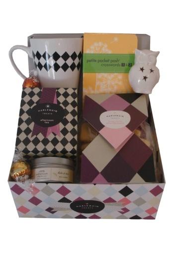 Harlequin Afternoon Tea Treat Box    $55.00  Custom designed Harlequin Mug  Tea Sachets  Lemon syrtle shortbread cookies  2 lindt chocholate balls  Petite pocket posh crosswords 1 & 2  Miniture owl ornament