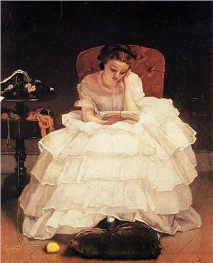 Альфред Стивенс Молодая женщина за книгой 1856