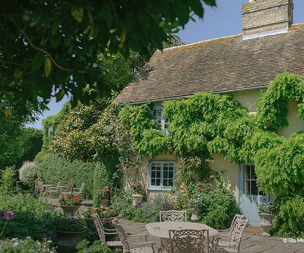 The patio in the sunshine at South Farm wedding venue