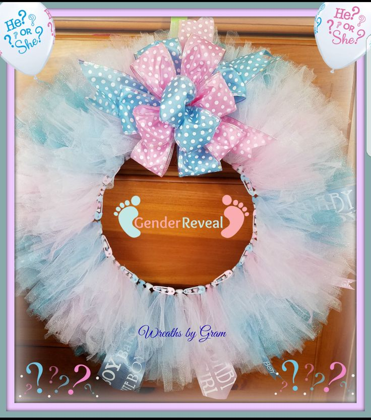 Baby Gift | Gender Reveal Ideas | Gender Reveal Decorations | Baby Wreaths for Door | Boy or Girl Gender Reveal | Baby Shower Decorations. #babygift #genderrevealideas #genderreveal #babyshower #babywreath #boyorgirl