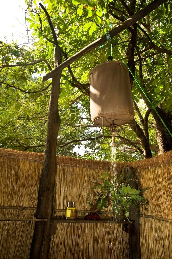 Take a shower in the open air bathroom.