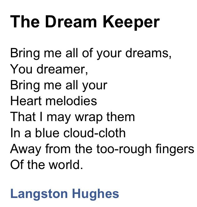 lagnston hughes poem dreams essay By langston hughes  his essay illustrates the toxic power of experiential faith applied by group pressure demanding religious submission at the cost of true.