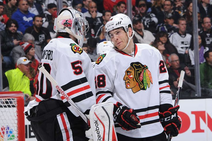 Ben Smith and Corey Crawford against the LA Kings. #Blackhawks