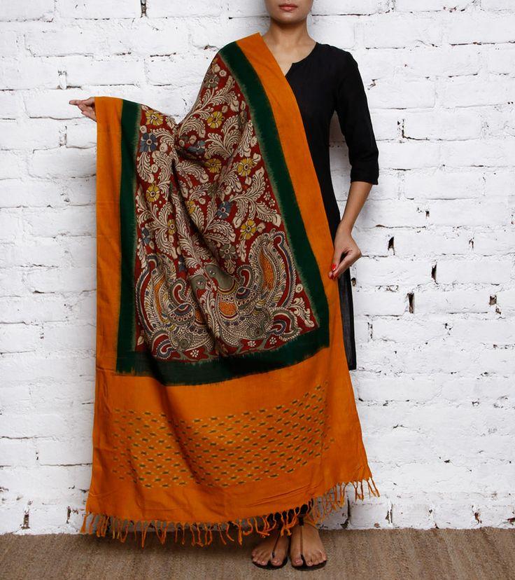 Yellow Handpainted Kalamkari and Ikat Cotton Dupatta: Indian hand-painted art