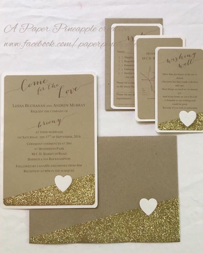 Rustic wedding invitation suite with a touch of gold glitter. Available from Paper Pineapple.