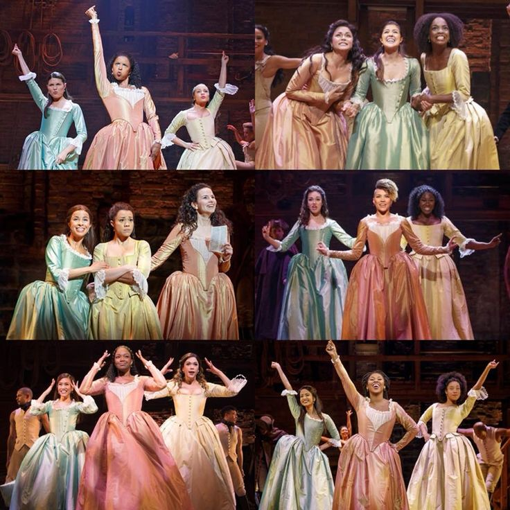 A suite of Schuyler sisters. Starting in the upper left and going clockwise , the OBC, Chicago cast, Angelica tour cast, Philip tour cast, London cast and B'way replacement cast.