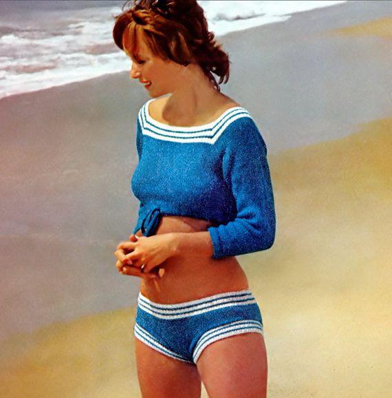 Vintage Knitting Pattern 1970s Hip Hugger Bikini Crop Top Play Suit Digital Down…