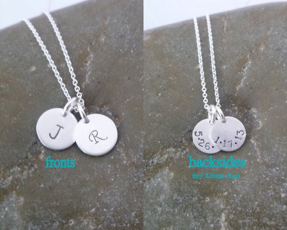 8 best double sided disc necklaces images on pinterest initial double sided 2 disc initial necklace double discs birthdate date on back mozeypictures Images