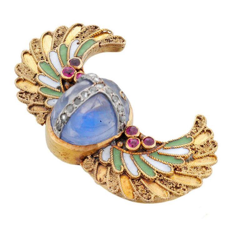Egyptian Revival Enamel Sapphire Ruby Gold Scarab Brooch 2