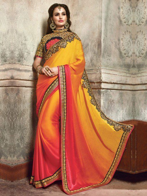Orange and Pink Satin Saree with Embroidery Work