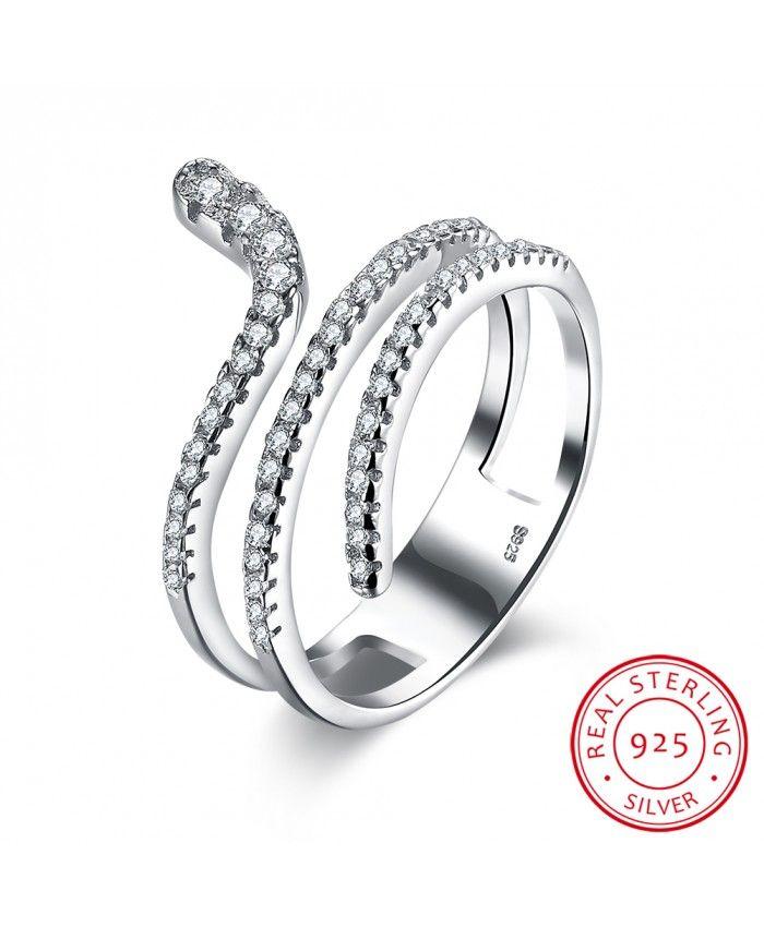 Ouruora 925 Silver Zircon Snake Adjule Size Ring