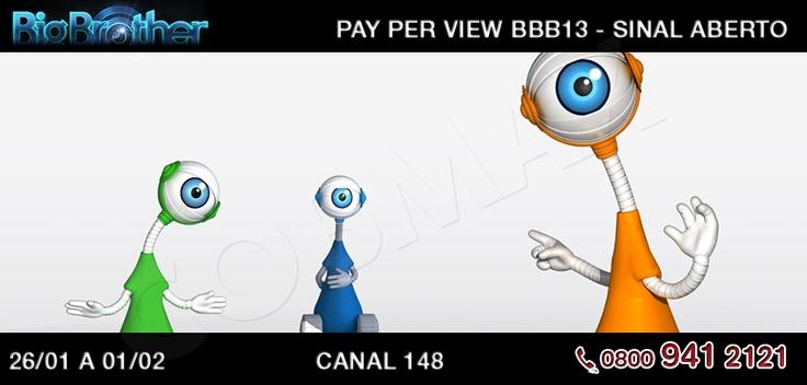 Se liga ai, pessoal. A partir de sábado dia 26 de janeiro até o dia 1 de fevereiro o Pay Per View do BBB13 estará com sinal aberto na Claro TV. Basta sintonizar no canal 148 para dar aquela espiadinha de tudo o que rola na casa mais vigiada do Brasil!    http://www.clarotv.br.com/
