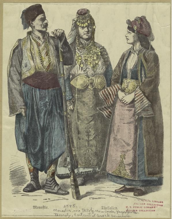 """Image ID: 826594  Monastir ; Thessalien. (1913)   Written on border: """"Monastir, now Bitolj [i.e. Bitola], Macedonia, Yugoslavia"""" """"Thessaly, east central Greek peninsula""""       Original Source  : From Costumes of all nations : 123 plates, containing over 1500 coloured costume pictures by the first Munich artists. Grevel, 1913) .       Source  : Mid-Manhattan Picture Collection / Costume -- regional"""
