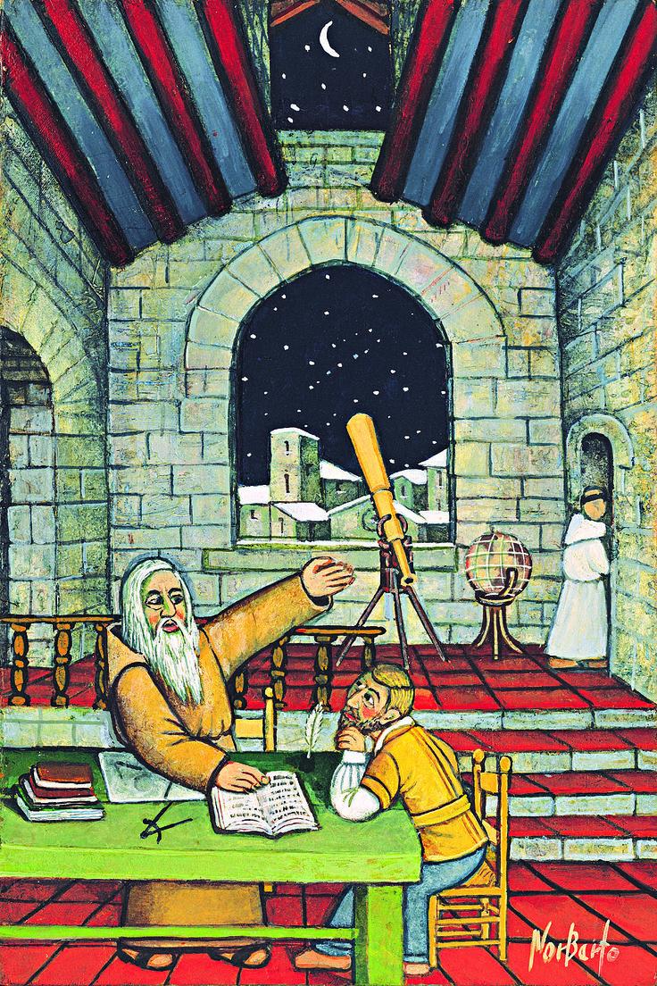 Barbanera nel suo studio con gli strumenti per l'osservazione del cielo e il discepolo Silvano, ritratti dal pittore umbro Norberto. L'immagine uscì per la prima volta nell'Almanacco del 1986.