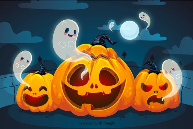 Curved Pumpkins And Ghosts Halloween Background Free Vector Free