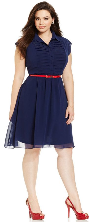 Plus Size Belted A-Line Shirtdress