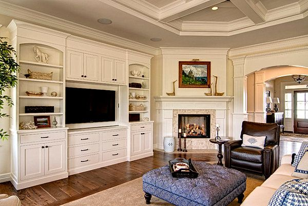rooms with wood molding | Modern corner fireplace in a room with traditional elements