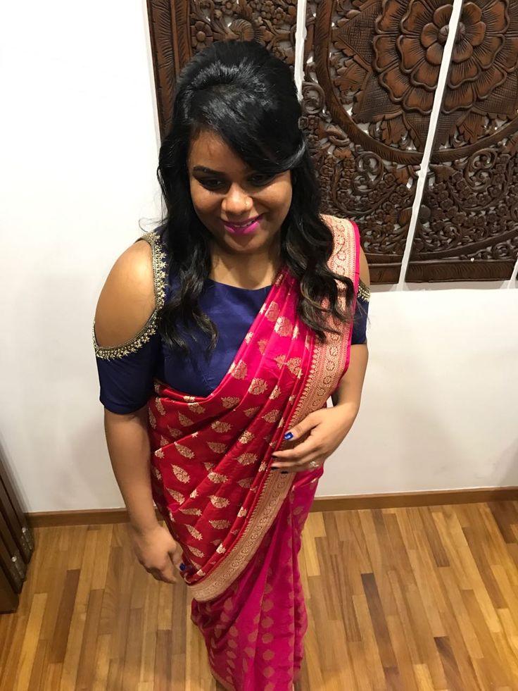 Indian banaras saree cold shoulder blouse