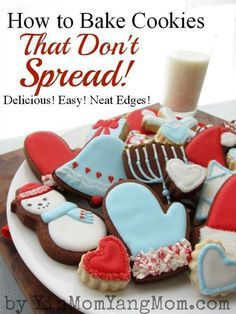 Cutout Cookies with Neat Edges -- Tips on sugar cookie recipes -- use cornstarch, eliminate leavening agent, roll cookie dough between sheets of parchment papers. Great looking decorated cookies!