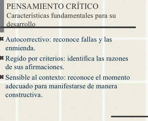 caracteristicas del pensamiento critico