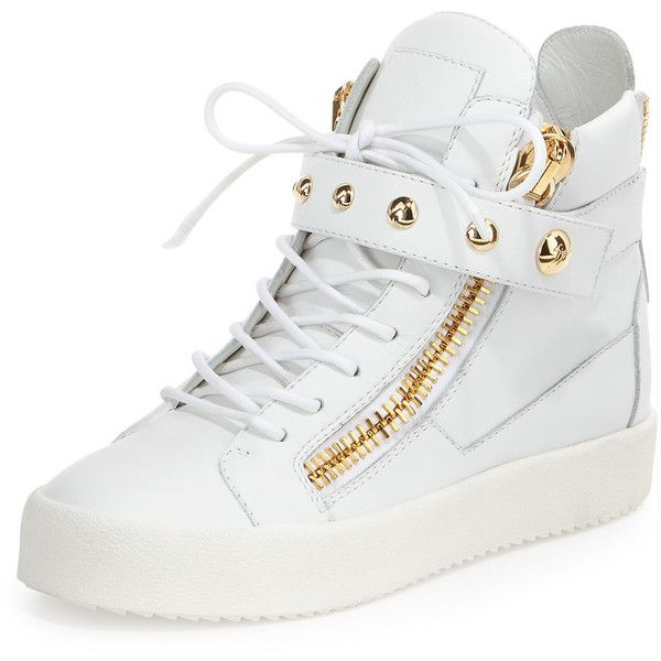 Giuseppe Zanotti Lamaylorenz Leather High-Top Sneaker (£580) ❤ liked on Polyvore featuring shoes, sneakers, white, white high top shoes, white hi top sneakers, leather high tops, white shoes y grip trainer
