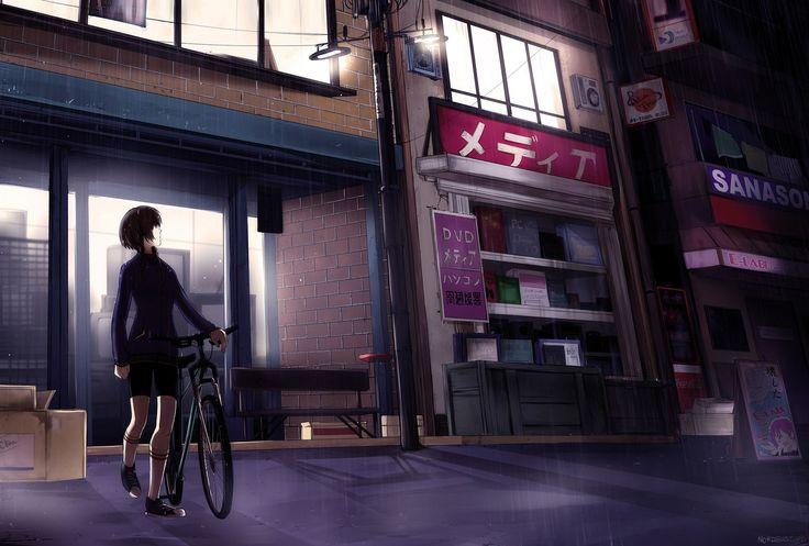 Artist #NORDBASTARD  #anime #アニメ  #digitalart #kawaii #可愛い #Steins_Gate #SteinsGate #シュタインズ ゲート #amane_suzuha #amanesuzuha #阿万音鈴羽 #bicycle #秋葉原 #rain_anime