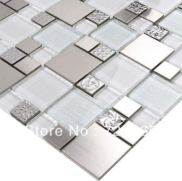 Glass mosaic tile backsplash SSMT110 silver metal mosaic stainless steel mosaic tiles sheet stainless steel mosaic glass tiles-in Mosaics fr...